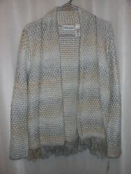 Alfred Dunner Tag Sz S Gray Metallic Fringe Open Front Cardigan Eskimo Kiss Nwt