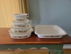 Rare See Stamps Vintage Corning Spice Of Life 6 Bowl 3 Lid Set