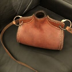 Beautiful Vintage Hand Worked Saddle Leather Covered Bottle/cask