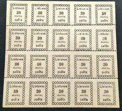 Lithuania Stamps.mi 6.missed Perforation.full Sheet.rare.mnh.missed Letters.