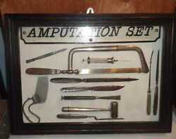 Rare Vintage Vietnam War Era Russian Medical Amputation Set In Wood Display Case