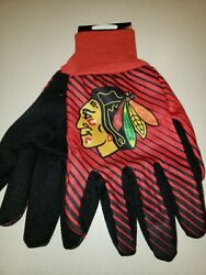 Chicago Blackhawks Adult Sport Utility W/pvc Gripper Dots Gloves New With Tags