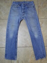 Vtg Leviand039s 501 Button Fly Blue Jeans Made In Usa 34x36 Measure 32x32