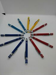 X 12 Misprint Lot Metal Soft Touch With Stylus Click Ink Pen Pens New