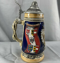 King Limited Edition Beer Stein Austria Flags Lidded Ceramic 3 Collectible