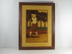 Hudson River Inlay Marquetry Framed Duffer Golfer Signed Nelson