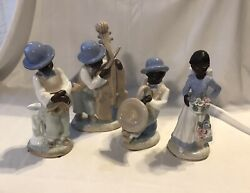 4 Piece African American Jazz Band Figurines
