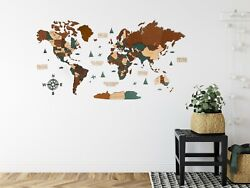 3d Wooden World Wall Map In Dark Brown And Green Xxl Size 98 X 51andrdquo