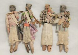 4 Small Antique French Or Spanish Cloth Dolls Adorned With Wooden Tools