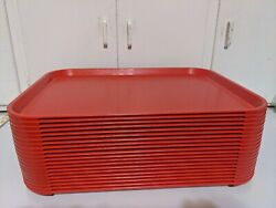 Lot Of 20 Cambro 1216ff Red 12x16 Trays Made In Usa Basketweave