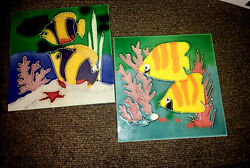 Wayne Gao 7 7/8andrdquo X 7 7/8andrdquo Tropical Fish Ceramic Art Tile Set Of 2with Stand