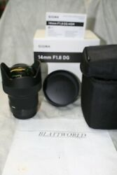 14mm F1.8 Sigma Art Dg Hsm Prime Lens For Sigma New In Factory Boxcover And Case