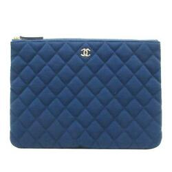 Blue Classic Pouch Clutch Bag Quilted Jersey