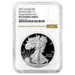 2021-w Proof 1 American Silver Eagle Congratulations Set Ngc Pf70uc Brown Label