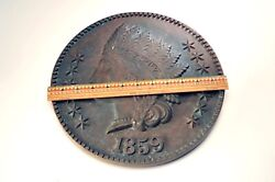 Large 12 -1859 Indian Head Cent - Solid Copper 18 Lbs. - Advertising Display