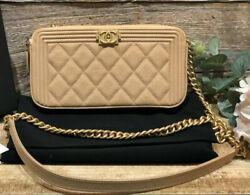 Auth Boy Beige Caviar Wallet On Chain Woc Clutch Bag Gold Hw Quilted New
