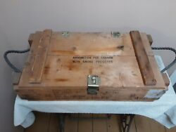 Vintage Military Wooden Ammo Crate Box Ammunition For Cannon W/smoke Projectile