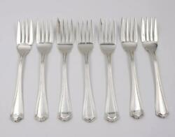 Birks Sterling Salad Forks Georgian Plain 6 1/4 Inches 7-pieces 264 Grams