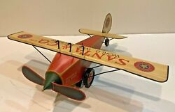 Large Vintage Dept 56 'toys In The Attic' Tin Santa And Co Airplane,18 Wingspan