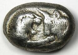 Ancient Lydia Kroisos Lion Bull Ar Stater Silver Croesus Coin 560-546 Bc - Vf