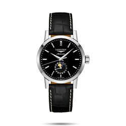 New Longines 1832 Moonphase Dial Black Leather Strap Menand039s Watch L48264520