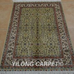 Yilong 2.7and039x4and039 Handmade Silk Rug All-over Home Interior Green Carpets 0529