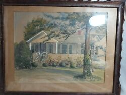 Antique 20x15 Midcentury Original Modernist Landscape Watercolor Fla House