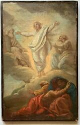 C 1760 French Old Master Transfiguration Of Christ With Moses Elijah Apostles