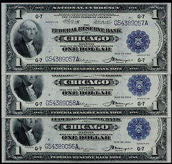 Sc 3 Consecutive 1918 1 Frbn Chicago. About-uncirculated Faces Up Unc