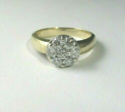 Fine 14k Over 1 Cw 7 Diamond Cluster Clean Ring Estate Auction Find Sz. 7.5