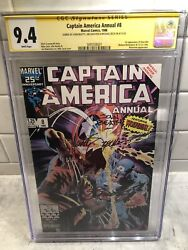Captain America Annual 8🔥cgc 9.4🔥3x Ss Signed Shooter Beatty Zeck🔥wolverine
