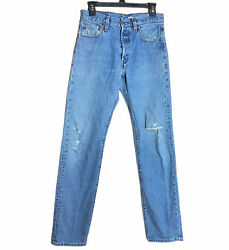501xx Jeans Button Fly 30 X 36 Actual 30 X 34 Distressed Ripped Y2k