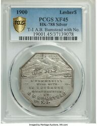 1900 1 Lesher So- Called Dollar Type 1 A.b. Bumstead Silver Coin Pcgs Xf45