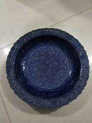 16and039and039 Chinese Antique Plate Blue Glaze Porcelain Plate Tray Pottery