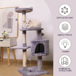 Modern Cat Tree with Scratching Post Cat Houses for Indoor Cats Gray 30 inch