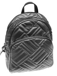 MICHAEL KORS ABBEY MEDIUM BACKPACK LEATHER QUILTED BLACK BLACK $114.85