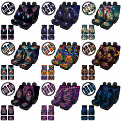 Owl Car Seat Covers Front And Rear Seat Belt Covers Floor Mat Full Set 11/13pc Set