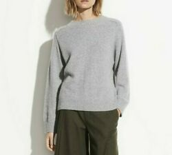 New Vince Raglan Cashmere And Silk Pullover Sweater, Grey, Large, Msrp 395