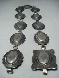 One Of The Best Early Vintage Cowboy Hat Sterling Silver Concho Belt