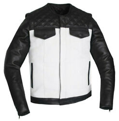 Men Motorcycle Perforated Removable Sleeves Vest Concealed Carry Leather Jacket