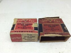 Lot Of 2 Vintage Lynx Eye 1941 Plymouth Stop Lamp Lens In Box Glass Nos