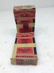 Lot Of 2 Vintage Lynx Eye 1940 Plymouth Stop And Tail Lamp Lens In Box Glass Nos
