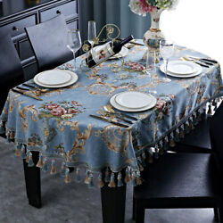 Europe Retro Tassel Tablecloth Oval For Party Event Dining Table Cover Chenille