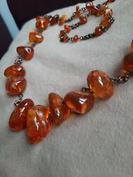 Antique Vintage Baltic Amber Necklace With Insect