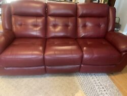 Red Leather Recliner Sofa Very Soft Supple Beautiful Excellent Local Pickup