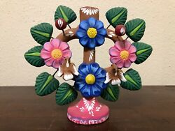 Vintage Mexican Metepec Pottery Candle Holder Flowers Birds Tree Of Life