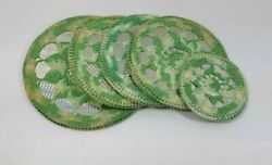 Vintage Hand Crocheted Set Of 5 Hot Pads Green And White With Surface Protectors