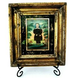 Antique Folk Art Portrait Painting Of A Child By James Sanford Ellsworth 1850and039s