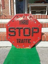 Vintage Thru Traffic Stop Street Sign Red With Glass Reflector Marbles