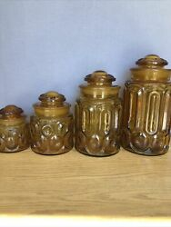 Vintage L.e. Smith Moon And Stars Amber Canister Glass Set Yellow Retro Mcm